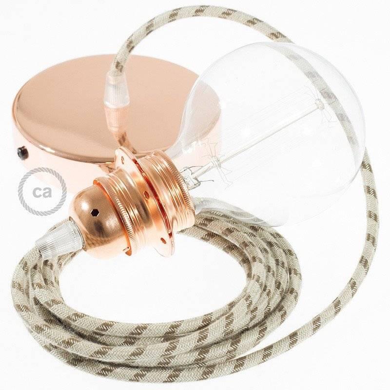 Câble Vertigo rond HD avec tissage classique à grosses rayures Crème et Noisette ERM56
