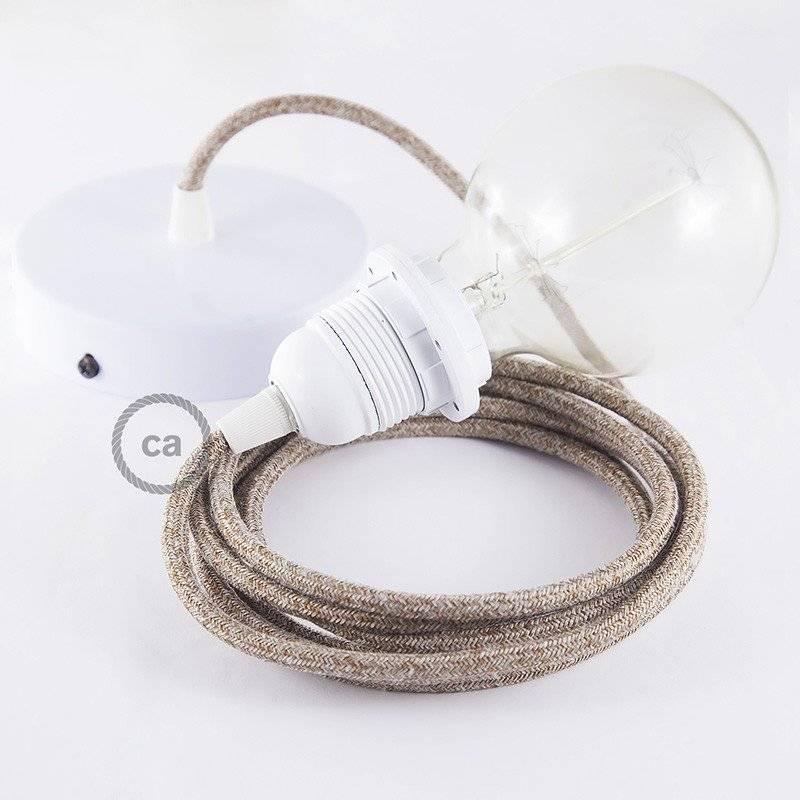 MoCo Posaluce Cubetto en liège naturel, avec câble textile RN06, interrupteur et fiche 2 pôles