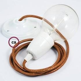 Câble électrique pour Guirlande recouvert en tissu Effet soie Noir CM04