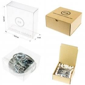Kit rosace 3 trous perle noire 120 mm avec serre-câble cylindriques en métal perle noire.