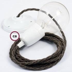 Serre-câble rond métal avec finition blanc mat longueur 7 cm avec tige, écrou et rondelle