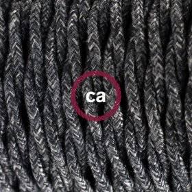 Serre-câble rond métal avec finition perle noire longueur 7 cm avec tige, écrou et rondelle