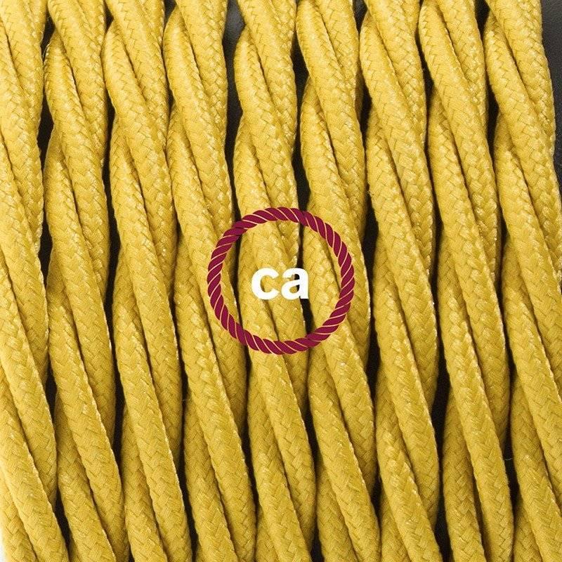 Cordon pour lampe, câble TM25 Effet Soie Moutarde 1,80 m. Choisissez la couleur de la fiche et de l'interrupteur!