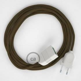 Rallonge électrique avec câble textile RC13 Coton Marron 2P 10A Made in Italy.