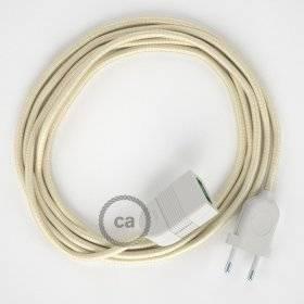 Rallonge électrique avec câble textile RM00 Effet Soie Ivoire 2P 10A Made in Italy.