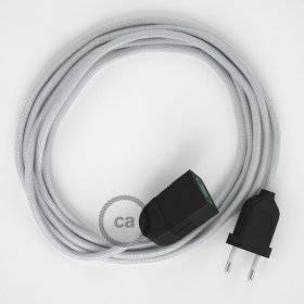 Rallonge électrique avec câble textile RM02 Effet Soie Argent 2P 10A Made in Italy.