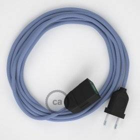 Rallonge électrique avec câble textile RM07 Effet Soie Lilas 2P 10A Made in Italy.