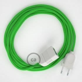 Rallonge électrique avec câble textile RM18 Effet Soie Vert Lime 2P 10A Made in Italy.