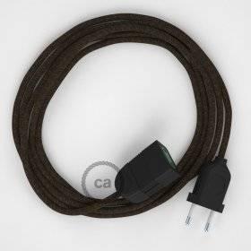 Rallonge électrique avec câble textile RN04 Lin Naturel Marron 2P 10A Made in Italy.