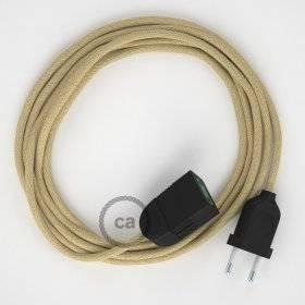 Rallonge électrique avec câble textile RN06 Jute 2P 10A Made in Italy.