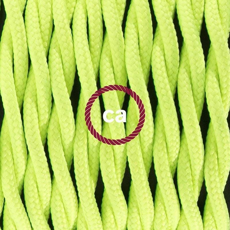 Cordon pour lampadaire, câble TF10 Effet Soie Jaune Fluo 3 m. Choisissez la couleur de la fiche et de l'interrupteur!