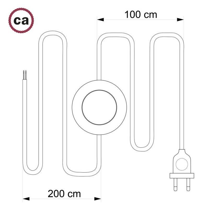 Cordon pour lampadaire, câble TM26 Effet Soie Gris Foncé 3 m. Choisissez la couleur de la fiche et de l'interrupteur!