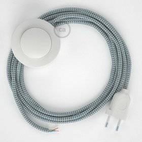 Cordon pour lampadaire, câble RT14 Effet Soie Stracciatella 3 m. Choisissez la couleur de la fiche et de l'interrupteur!