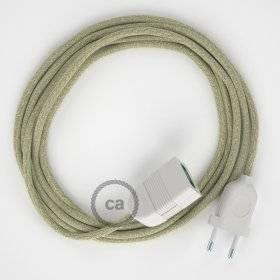Rallonge électrique avec câble textile RN01 Lin Naturel Neutre 2P 10A Made in Italy.