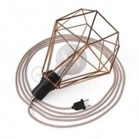 Table Snake avec cage abat-jour Diamond cuivre et fiche à deux pôles