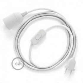 SnakeBis cordon avec douille et câble textile Coton Blanc RC01