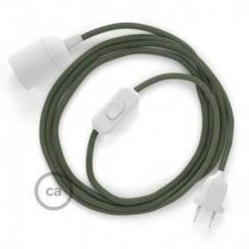 SnakeBis cordon avec douille et câble textile Coton Gris Vert RC63