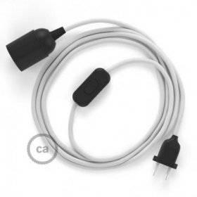 SnakeBis cordon avec douille et câble textile Effet Soie Blanc RM01