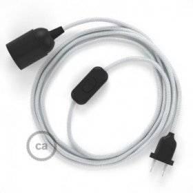 SnakeBis cordon avec douille et câble textile Effet Soie Argent RM02
