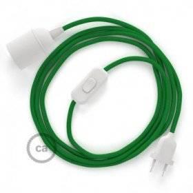 SnakeBis cordon avec douille et câble textile Effet Soie Vert RM06