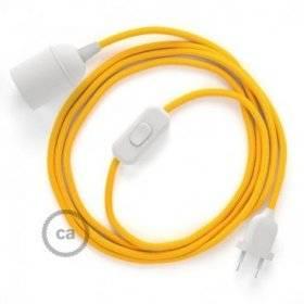 SnakeBis cordon avec douille et câble textile Effet Soie Jaune RM10