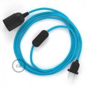 SnakeBis cordon avec douille et câble textile Effet Soie Turquoise RM11