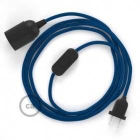 SnakeBis cordon avec douille et câble textile Effet Soie Bleu RM12