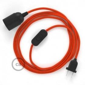 SnakeBis cordon avec douille et câble textile Effet Soie Orange RM15