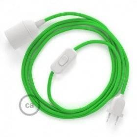 SnakeBis cordon avec douille et câble textile Effet Soie Vert Lime RM18