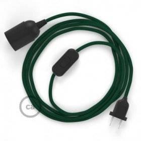SnakeBis cordon avec douille et câble textile Effet Soie Vert Foncé RM21