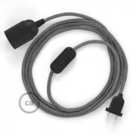 SnakeBis cordon avec douille et câble textile Lin Naturel Gris RN02