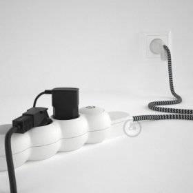 Bloc multiprise avec câble en tissu de couleur effet soie Noir ZigZag RZ04 et fiche schuko avec anneau confort