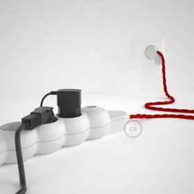 Bloc multiprise avec câble en tissu de couleur effet soie Rouge TM09 et fiche schuko avec anneau confort