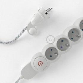 Bloc multiprise avec câble en tissu de couleur effet soie Argent TM02 et fiche schuko avec anneau confort