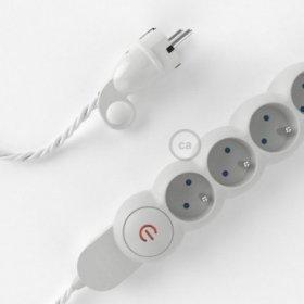 Bloc multiprise avec câble en tissu de couleur effet soie Blanc TM01 et fiche schuko avec anneau confort