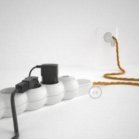 Bloc multiprise avec câble en tissu de couleur effet soie Doré TM05 et fiche schuko avec anneau confort