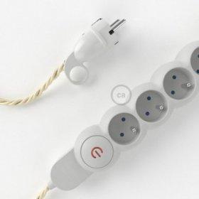 Bloc multiprise avec câble en tissu Effet Soie Ivoire TM00 et fiche schuko avec anneau confort