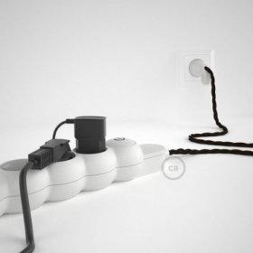 Bloc multiprise avec câble en tissu Effet Soie Marron TM13 et fiche schuko avec anneau confort