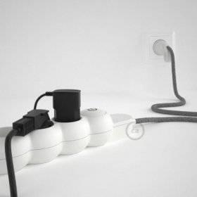 Bloc multiprise avec câble en Lin Naturel Gris RN02 et fiche schuko avec anneau confort