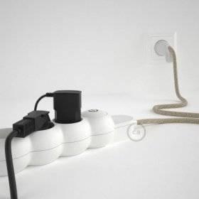 Bloc multiprise avec câble en Lin Naturel Neutre RN01 et fiche schuko avec anneau confort