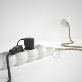 Bloc multiprise avec câble en Lin Naturel Neutre TN01 et fiche schuko avec anneau confort