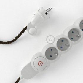 Bloc multiprise avec câble en Lin Naturel Marron TN04 et fiche schuko avec anneau confort