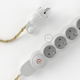 Bloc multiprise avec câble en Jute TN06 et fiche schuko avec anneau confort