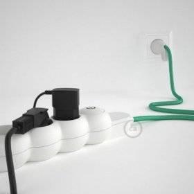 Bloc multiprise avec câble en tissu Effet Soie Opal RH69 et fiche schuko avec anneau confort