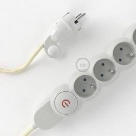 Bloc multiprise avec câble en tissu Effet Soie Ivoire RM00 et fiche schuko avec anneau confort