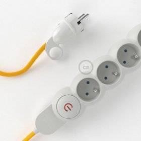 Bloc multiprise avec câble en tissu Effet Soie Jaune RM10 et fiche schuko avec anneau confort