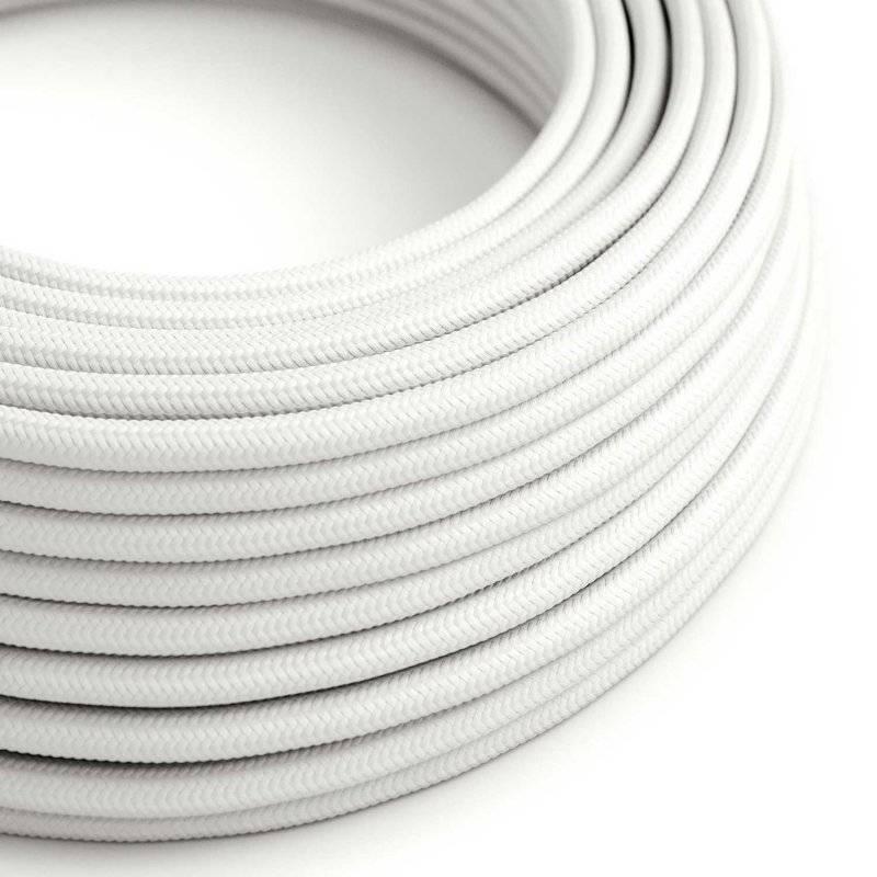 Fil Électrique Rond Gaine De Tissu De Couleur Effet Soie Tissu Uni Blanc RM01