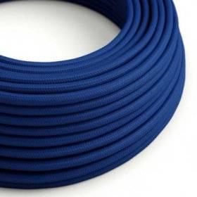 Fil Électrique Rond Gaine De Tissu De Couleur Effet Soie Tissu Uni Bleu RM12