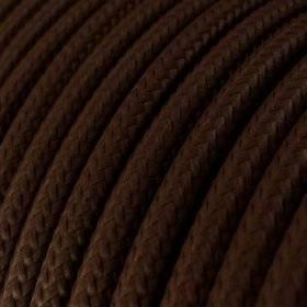 Fil Électrique Rond Gaine De Tissu De Couleur Effet Soie Tissu Uni Marron RM13