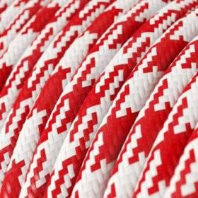 Fil Électrique Rond Gaine De Tissu De Couleur Effet Soie Bicolore Rouge RP09